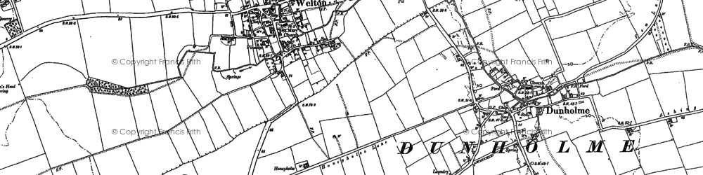Old map of Welton in 1885