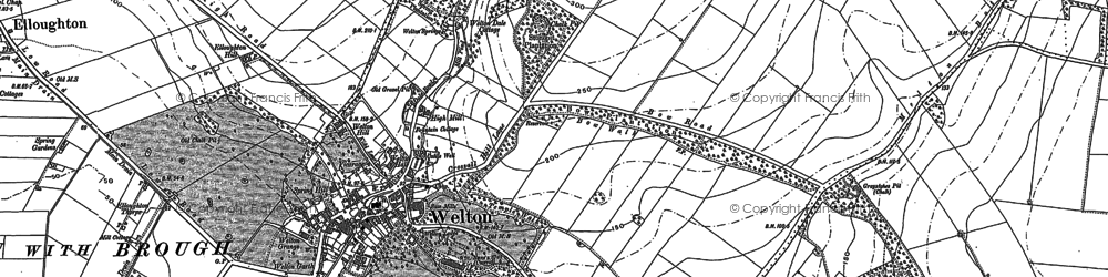 Old map of Welton in 1888
