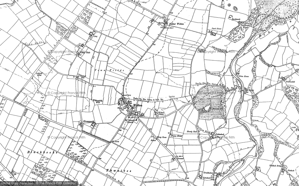 Old Map of Historic Map covering Thwaites in 1899