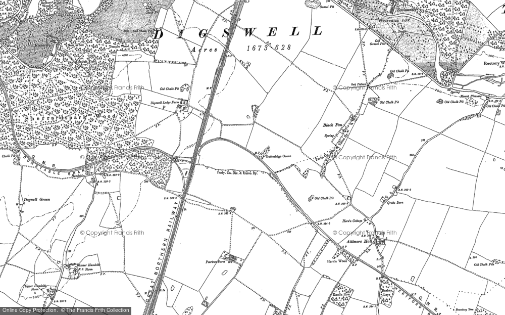 Old Map of Historic Map covering Woodhall in 1897