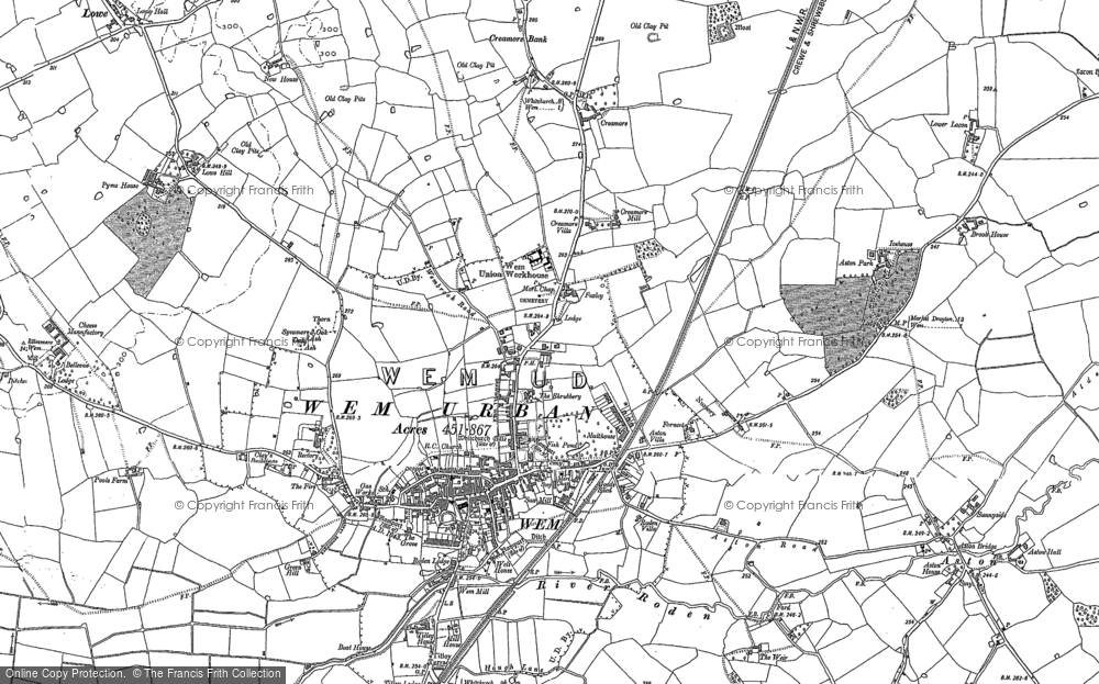 Old Map of Historic Map covering Aston Grange in 1880