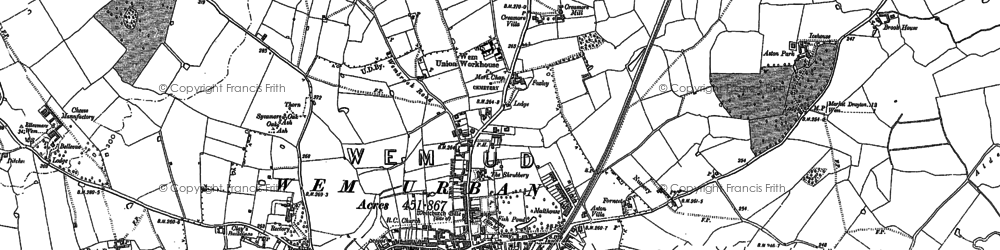 Old map of Aston Grange in 1880