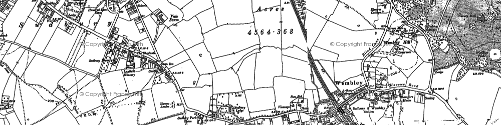 Old map of Wembley in 1894
