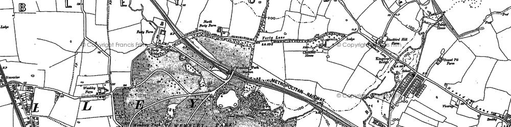 Old map of Tokyngton in 1895