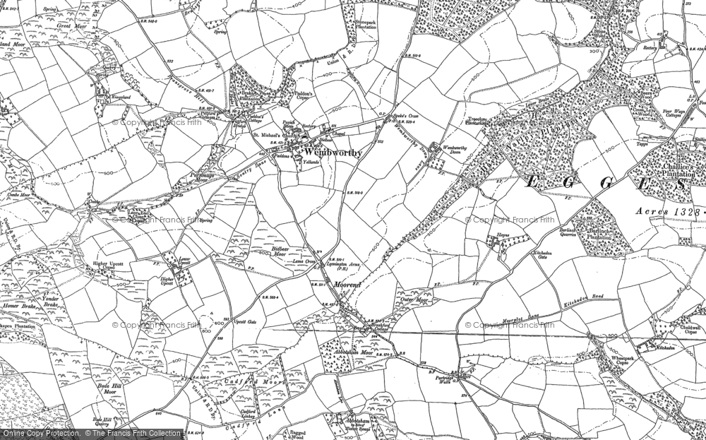 Old Map of Historic Map covering Abbotsham in 1886