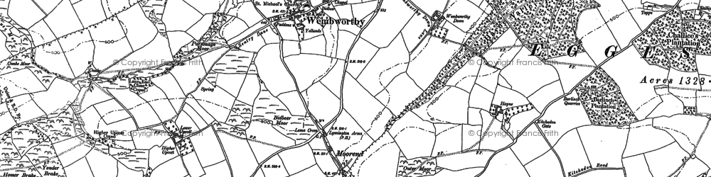 Old map of Abbotsham in 1886