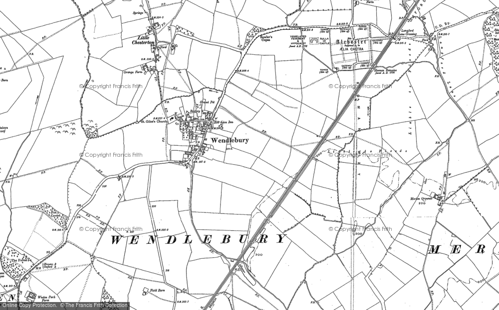 Old Map of Historic Map covering Alchester (Roman Town) in 1898