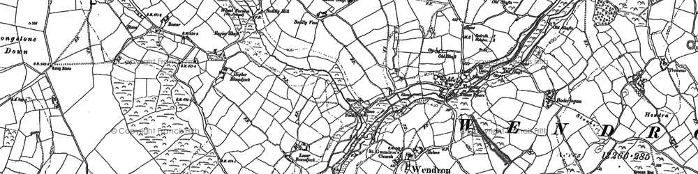 Old map of Wendron in 1877