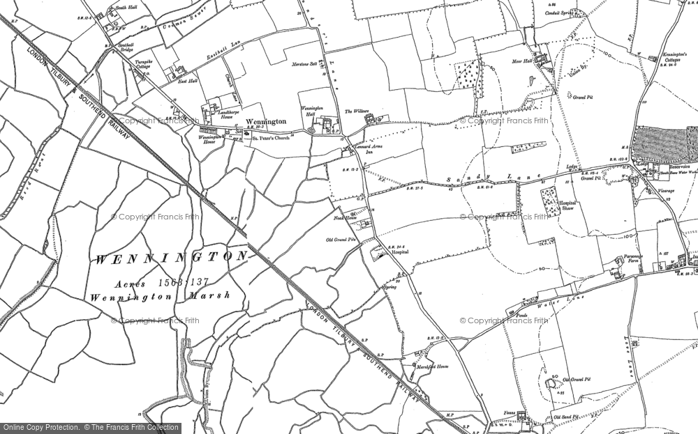 Old Map of Historic Map covering Aveley Marshes in 1895