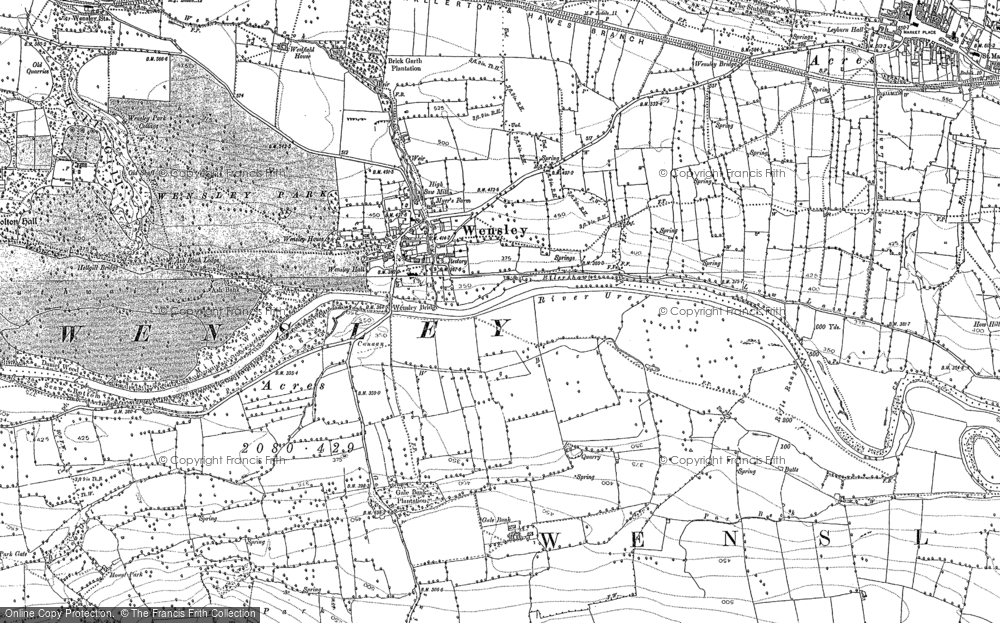 Old Map of Historic Map covering Leyburn Shawl in 1891