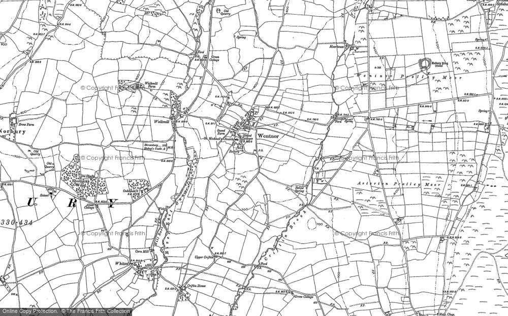 Old Map of Historic Map covering Asterton Prolley Moor in 1882