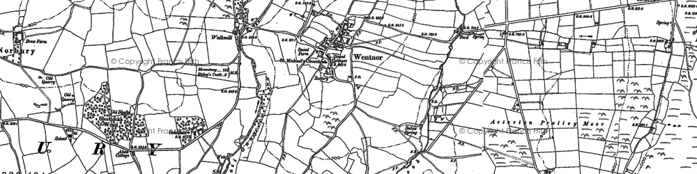 Old map of Asterton Prolley Moor in 1882