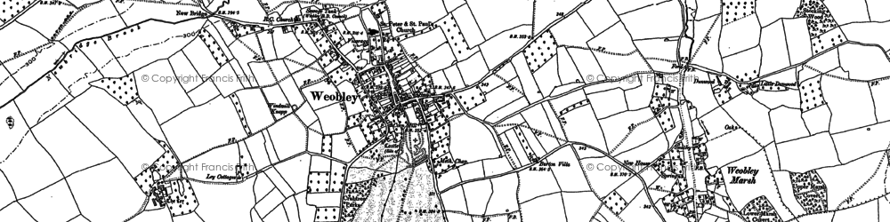 Old map of Weobley in 1886