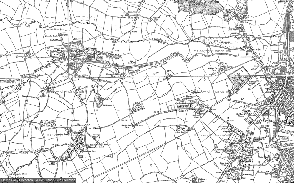 Old Map of Historic Map covering Woodcock Hill in 1882