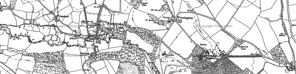 Old map of Ladycross in 1882