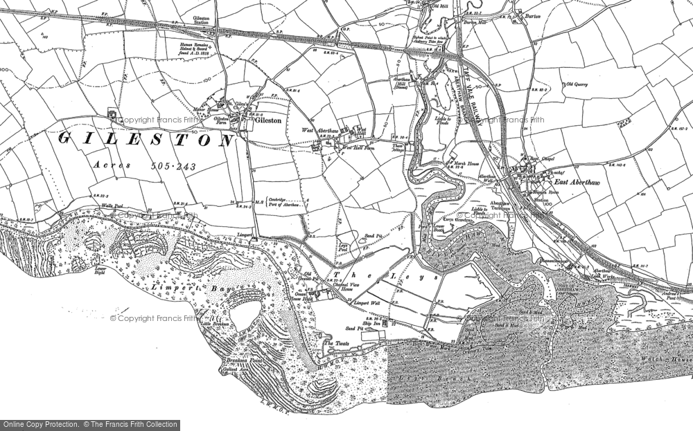 Old Map of Historic Map covering Leys Beach in 1897