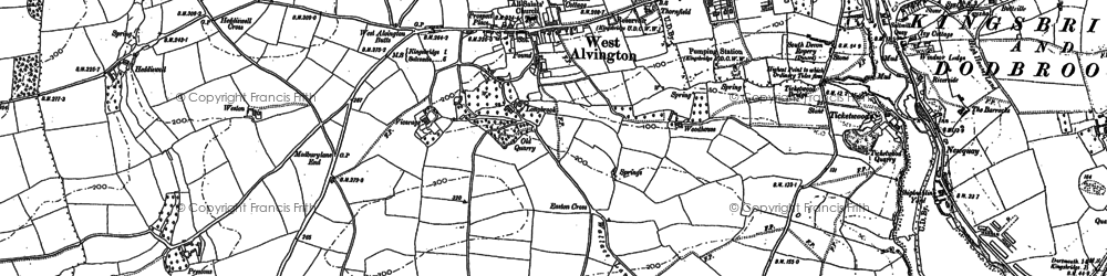 Old map of Youngcombe in 1884