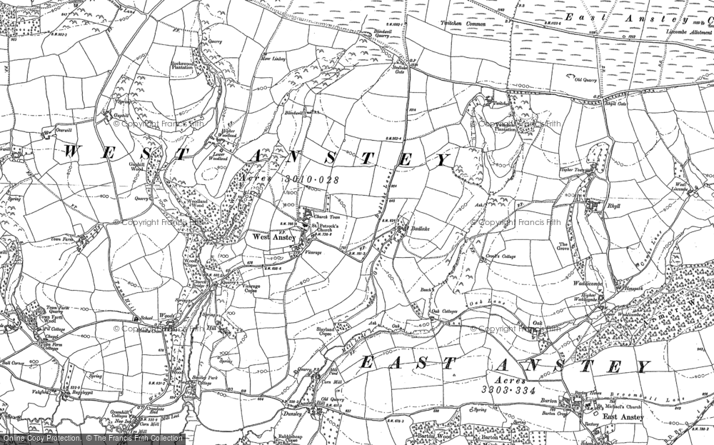 Old Map of Historic Map covering Yeo Mill in 1902