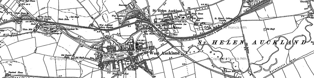 Old map of West Auckland in 1896