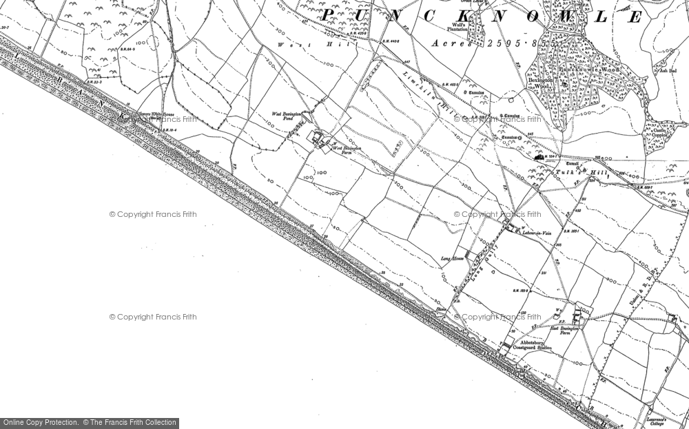 Old Map of Historic Map covering Limekiln Hill in 1901