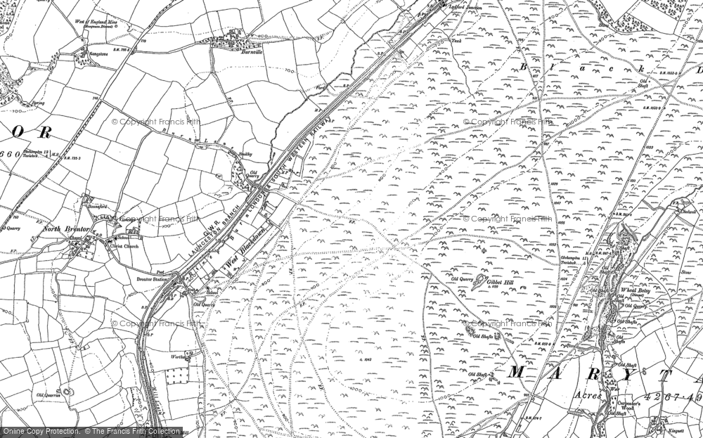 Old Map of Historic Map covering Langstone Manor in 1883