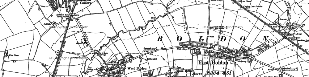 Old map of West Boldon in 1913