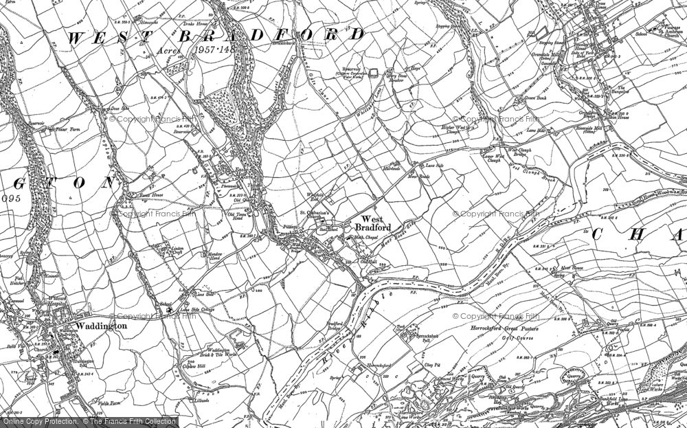 Old Map of West Bradford, 1930 in 1930