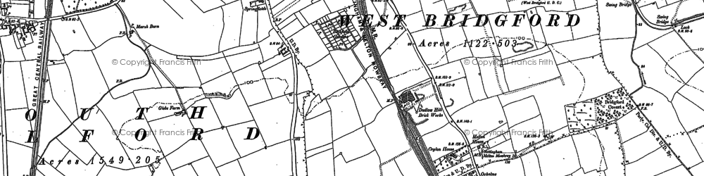 Old map of West Bridgford in 1883
