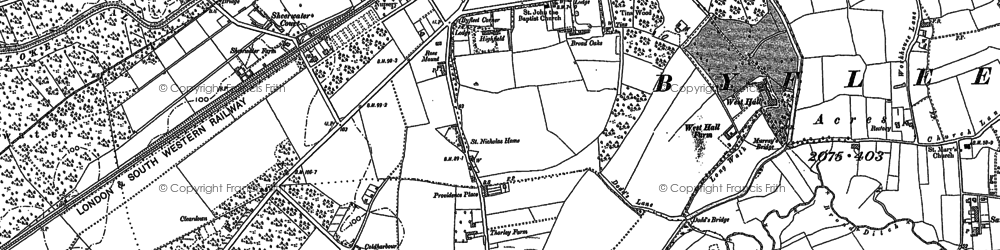 Old map of West Byfleet in 1895