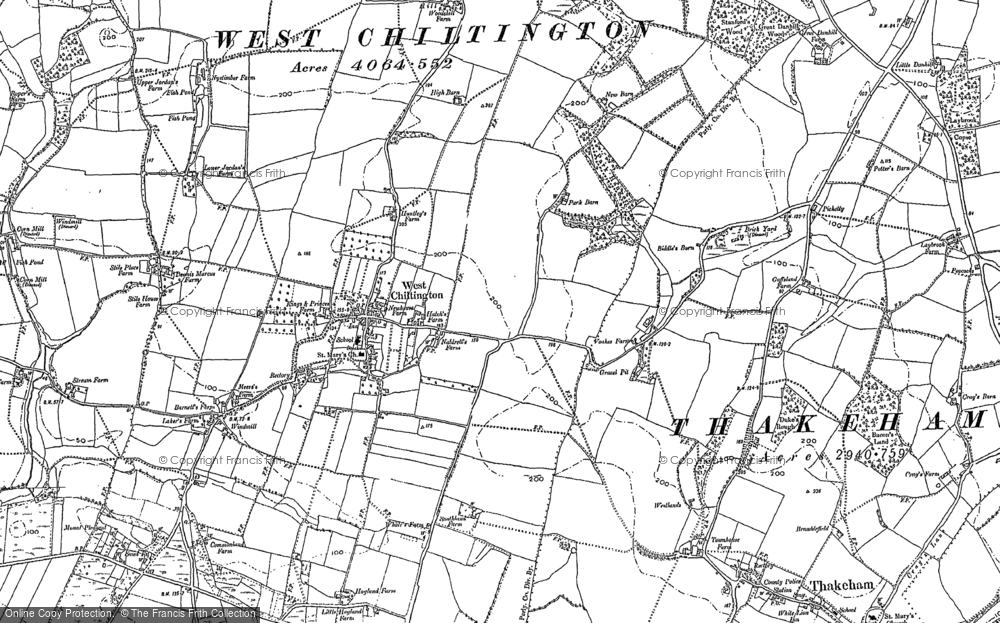 Old Map of Historic Map covering Woods Hill in 1895