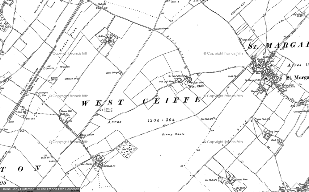 Old Map of Historic Map covering St Margaret's at Cliffe in 1906