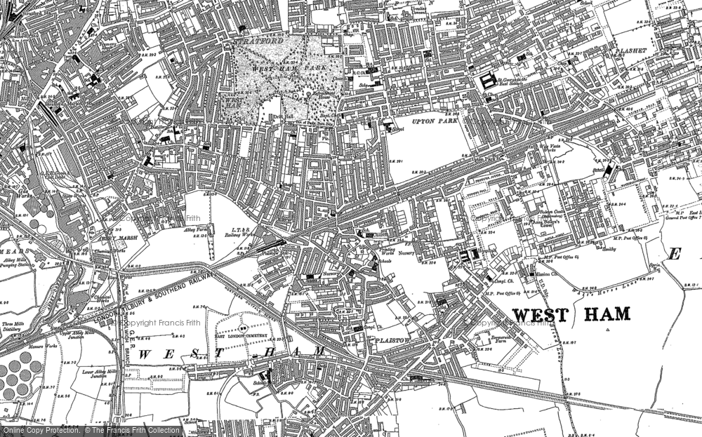 Old Map of Historic Map covering Plashet in 1894