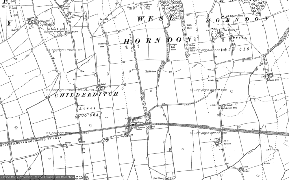 Old Map of Historic Map covering Tillingham Hall in 1895