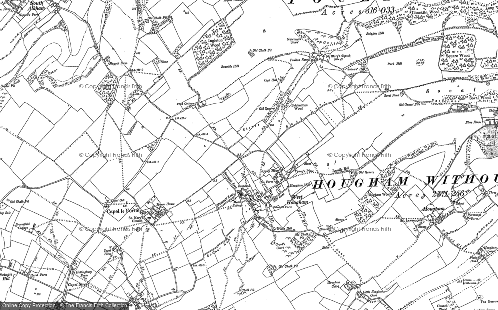 Old Map of West Hougham, 1896 - 1906 in 1896