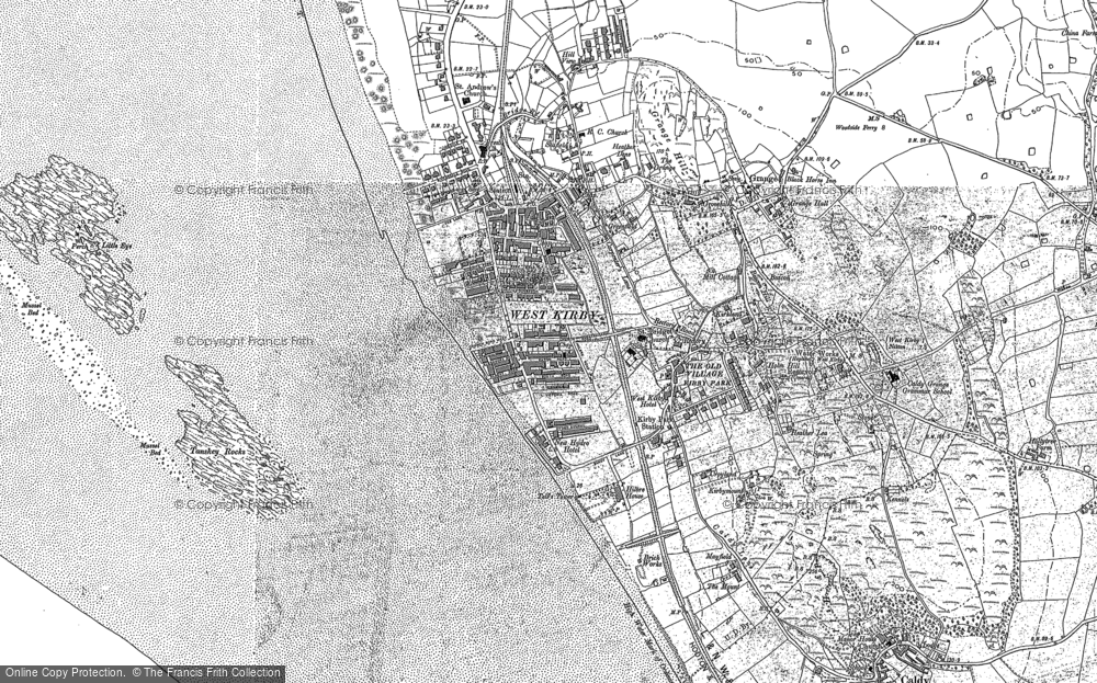 Old Map of Historic Map covering Lime Wharf in 1908