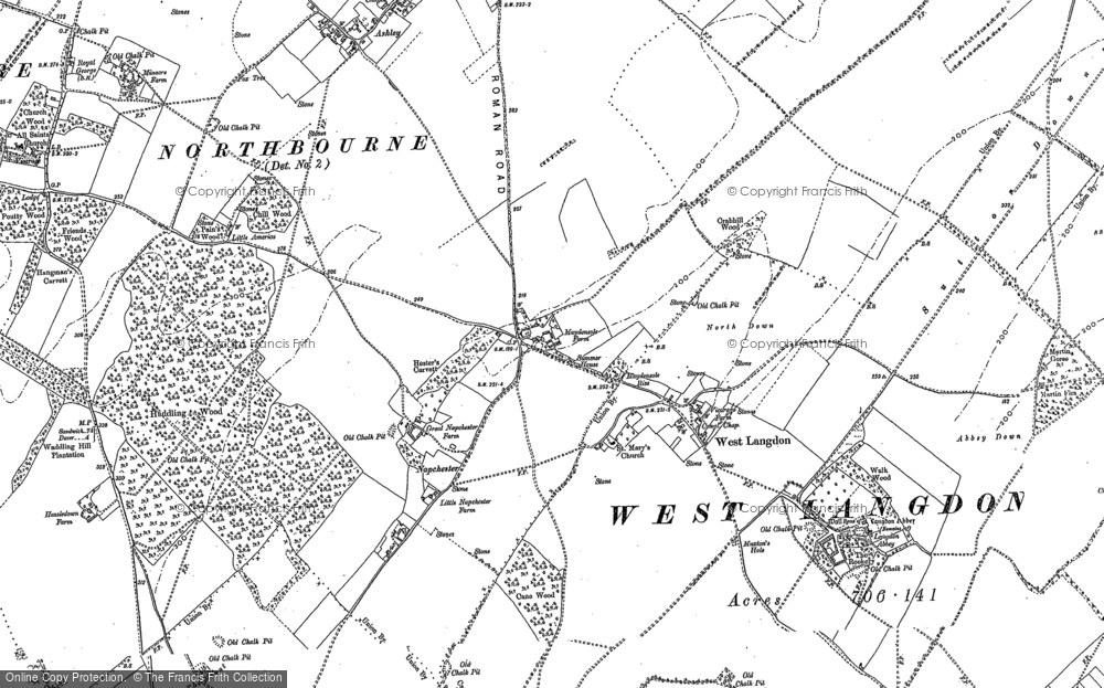 Old Map of West Langdon, 1896 - 1897 in 1896