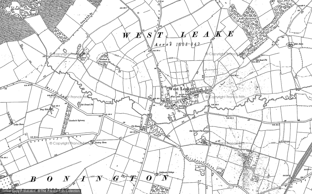 Old Map of Historic Map covering Ash Spinney in 1883