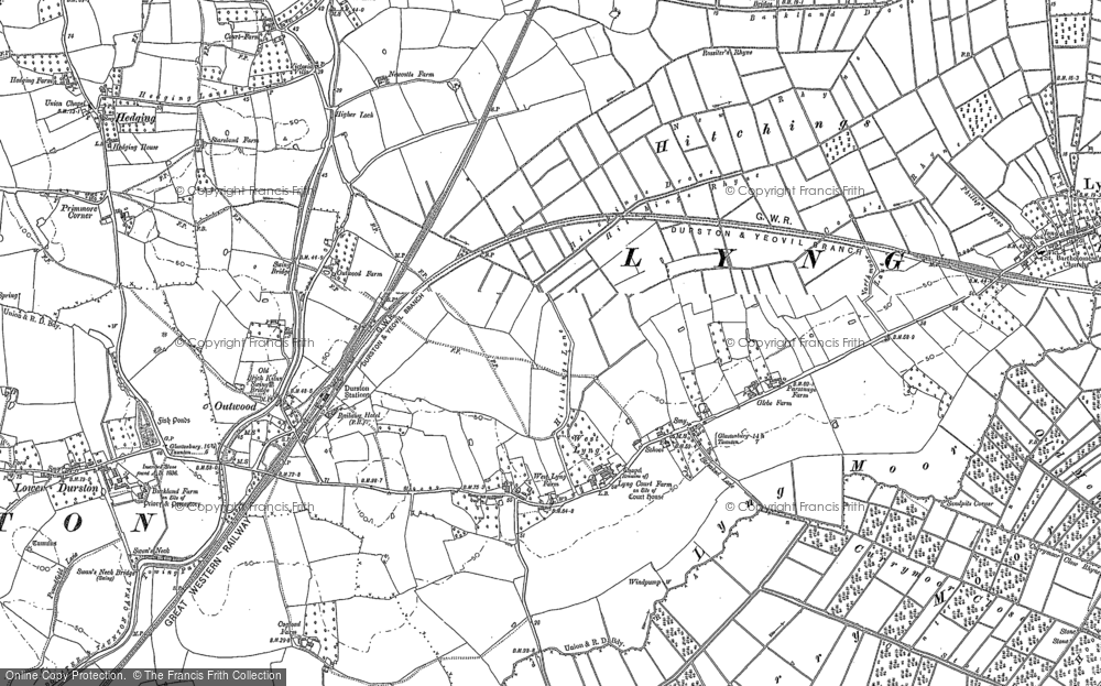 Old Map of Historic Map covering Bankland in 1886