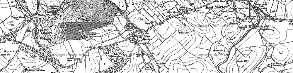 Old map of West Marton in 1892