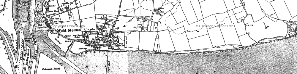 Old map of West Mersea in 1896