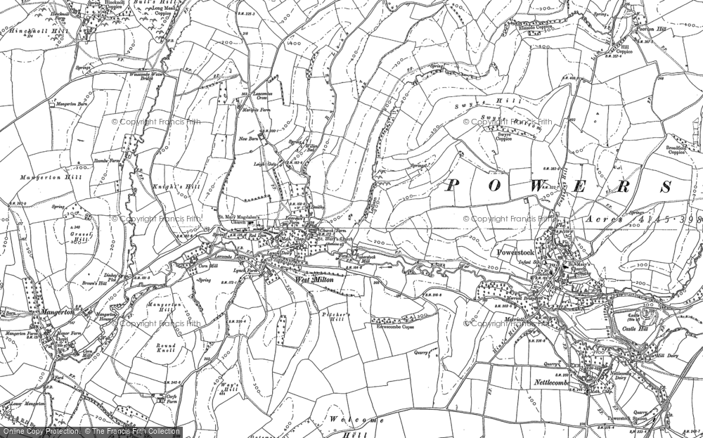 Old Map of Historic Map covering Leigh Gate in 1886