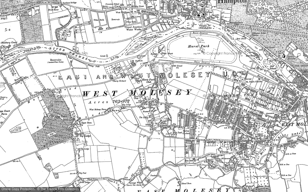 Old Map of West Molesey, 1894 - 1913 in 1894