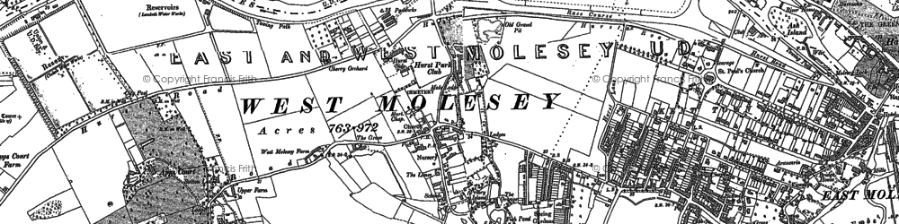 Old map of West Molesey in 1894