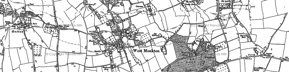 Old map of West Monkton in 1887