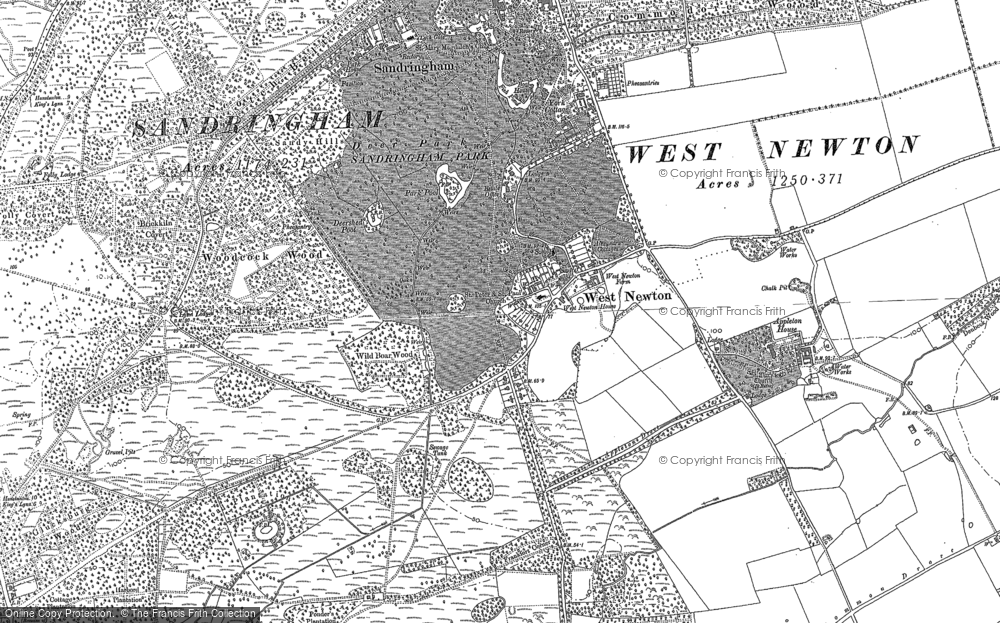Old Map of Historic Map covering Woodcock Wood in 1884