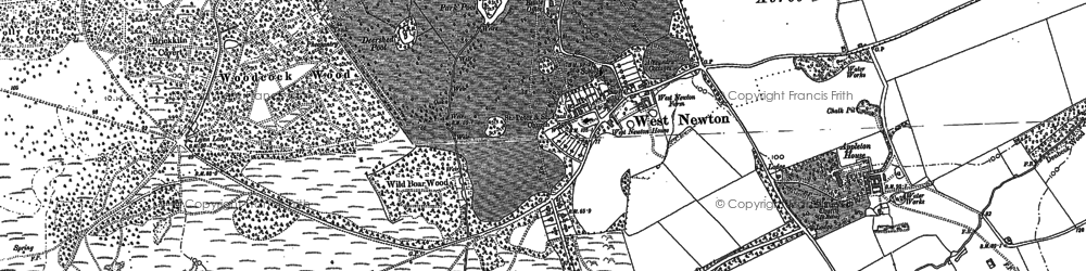 Old map of Woodcock Wood in 1884