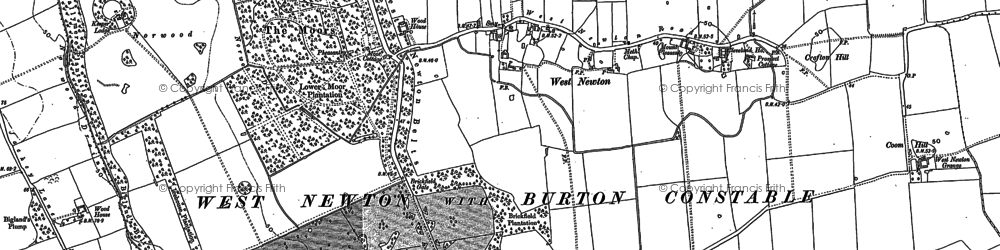 Old map of West Newton Belts in 1889