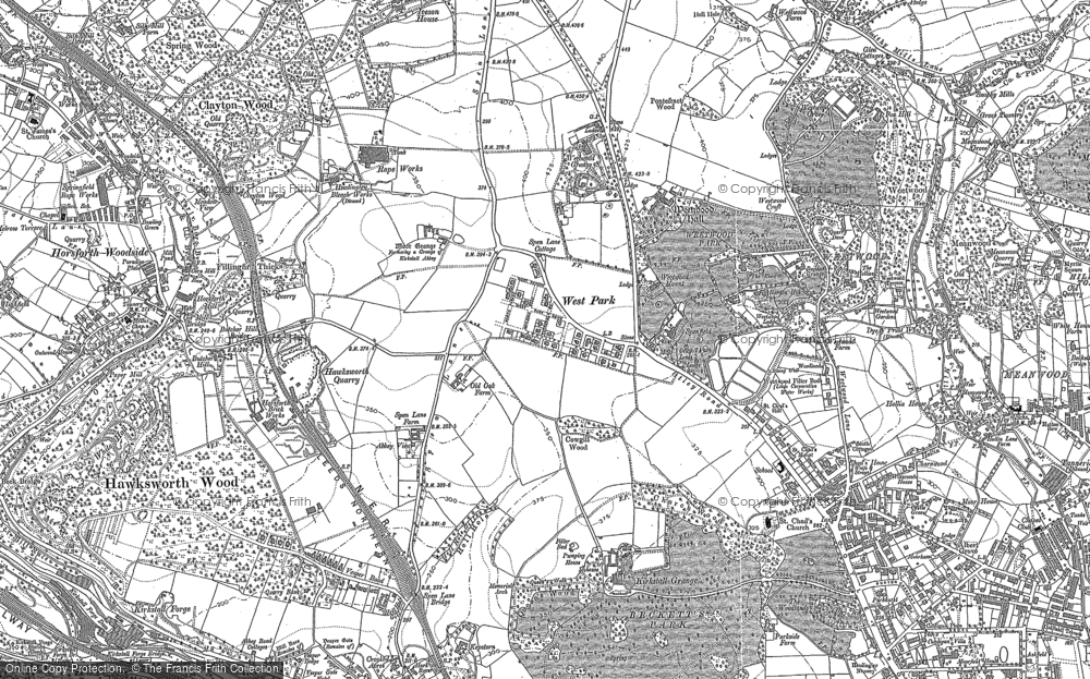 Old Map of Historic Map covering Lawnswood in 1890