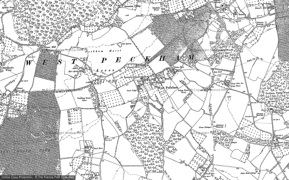 Map of West Peckham, 1866 - 1895