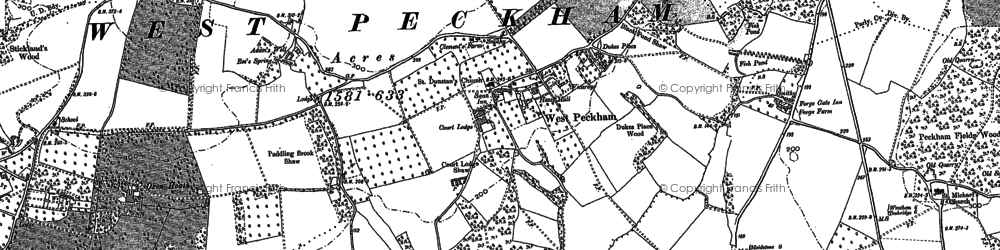 Old map of West Peckham in 1866